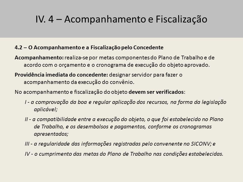 IV. 4 – Acompanhamento e Fiscalização