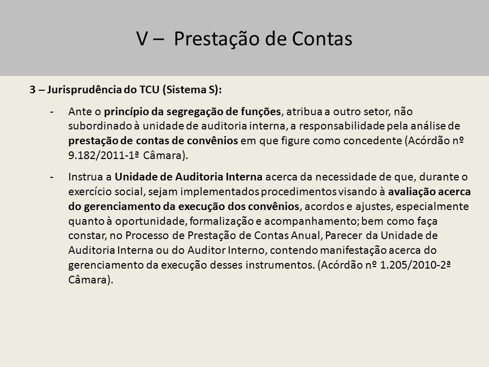 V – Prestação de Contas 3 – Jurisprudência do TCU (Sistema S):
