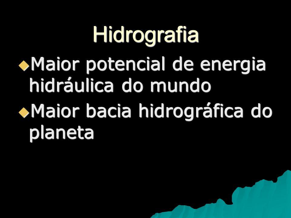 Hidrografia Maior potencial de energia hidráulica do mundo
