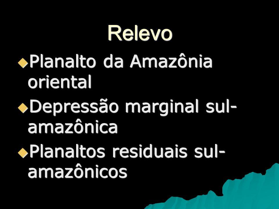 Relevo Planalto da Amazônia oriental Depressão marginal sul-amazônica