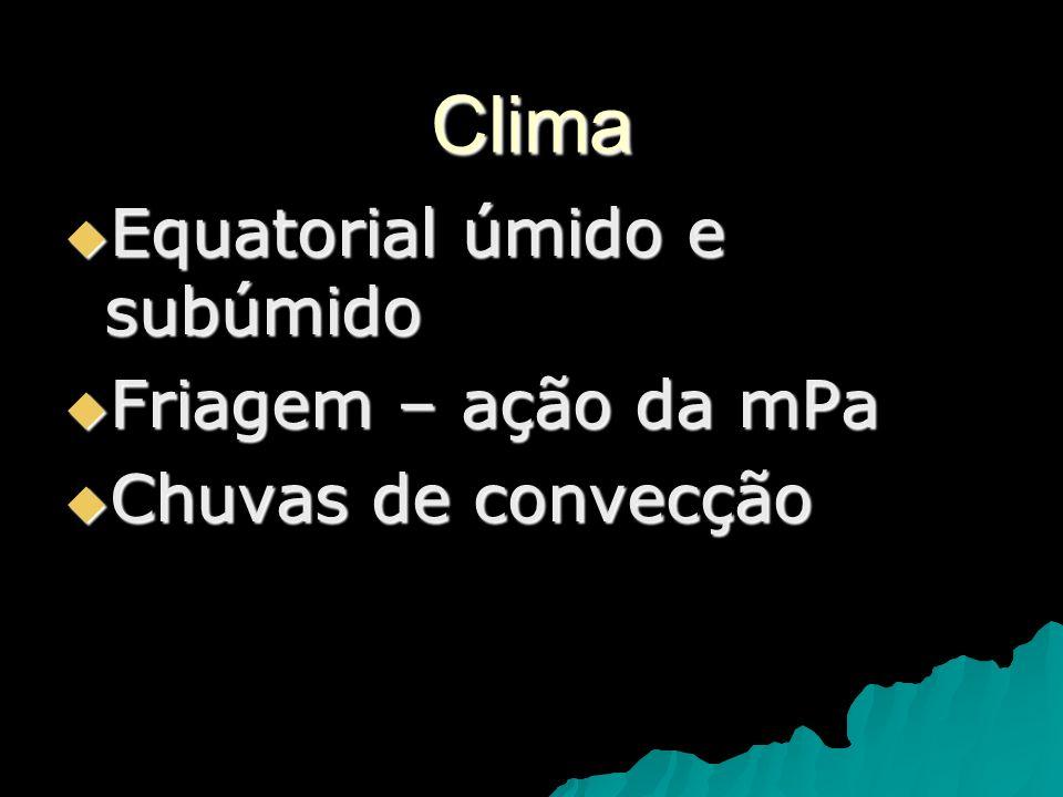 Clima Equatorial úmido e subúmido Friagem – ação da mPa