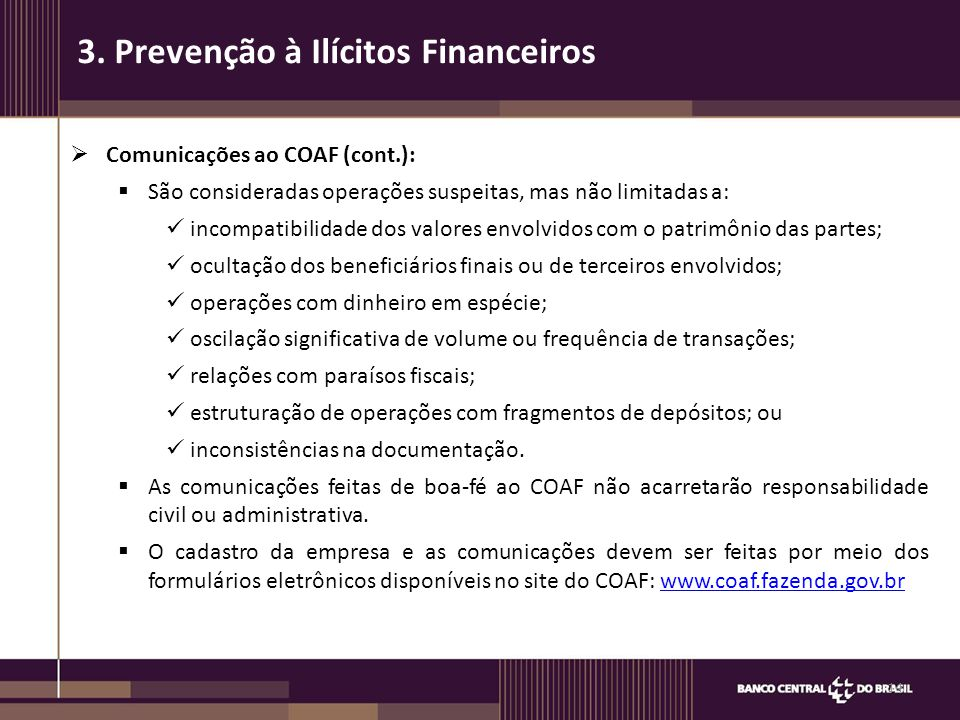 3. Prevenção à Ilícitos Financeiros