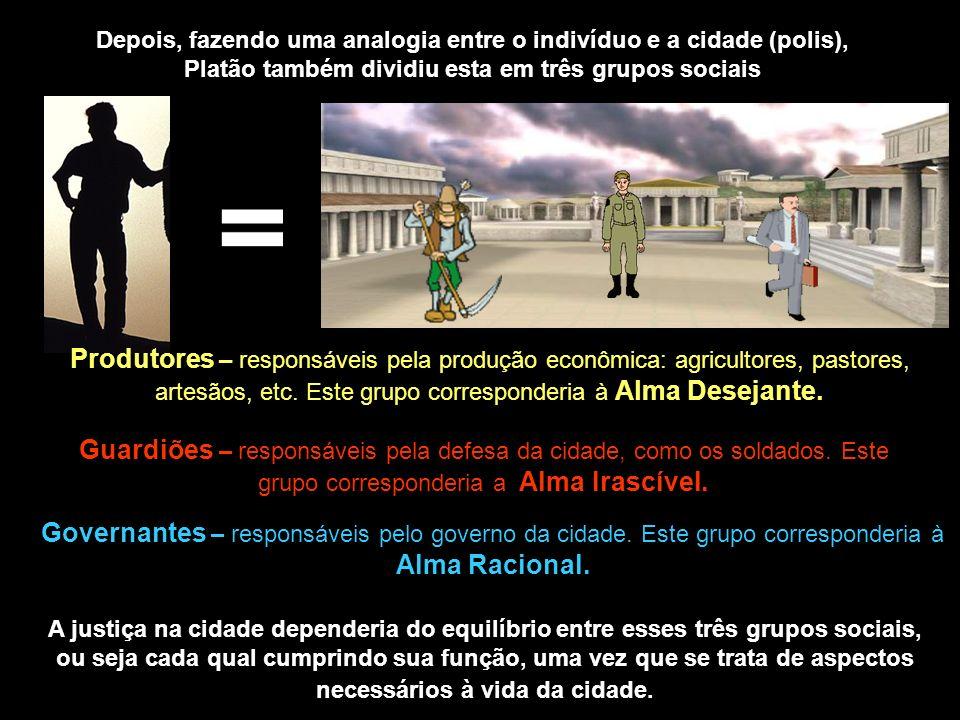 Depois, fazendo uma analogia entre o indivíduo e a cidade (polis), Platão também dividiu esta em três grupos sociais