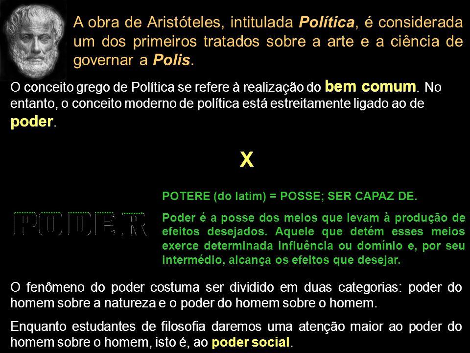 A obra de Aristóteles, intitulada Política, é considerada um dos primeiros tratados sobre a arte e a ciência de governar a Polis.