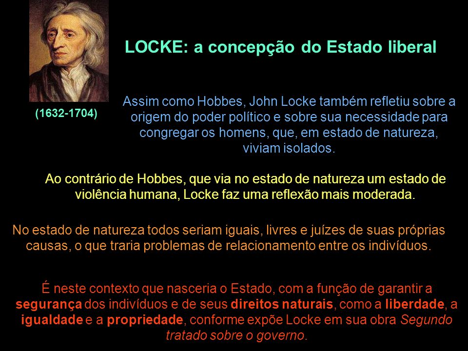 LOCKE: a concepção do Estado liberal