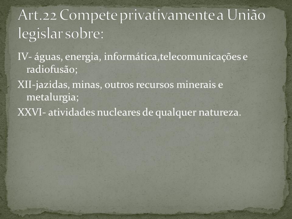 Art.22 Compete privativamente a União legislar sobre: