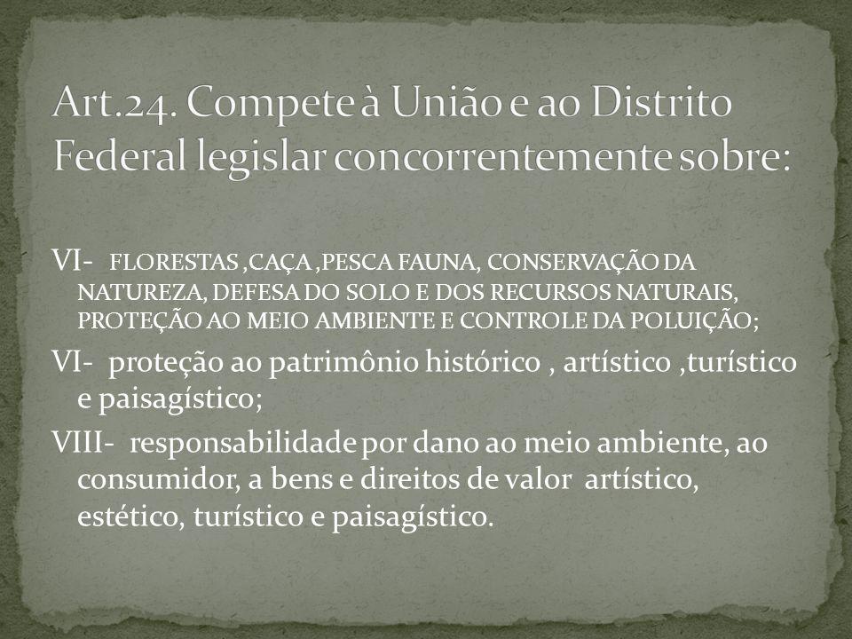 Art.24. Compete à União e ao Distrito Federal legislar concorrentemente sobre: