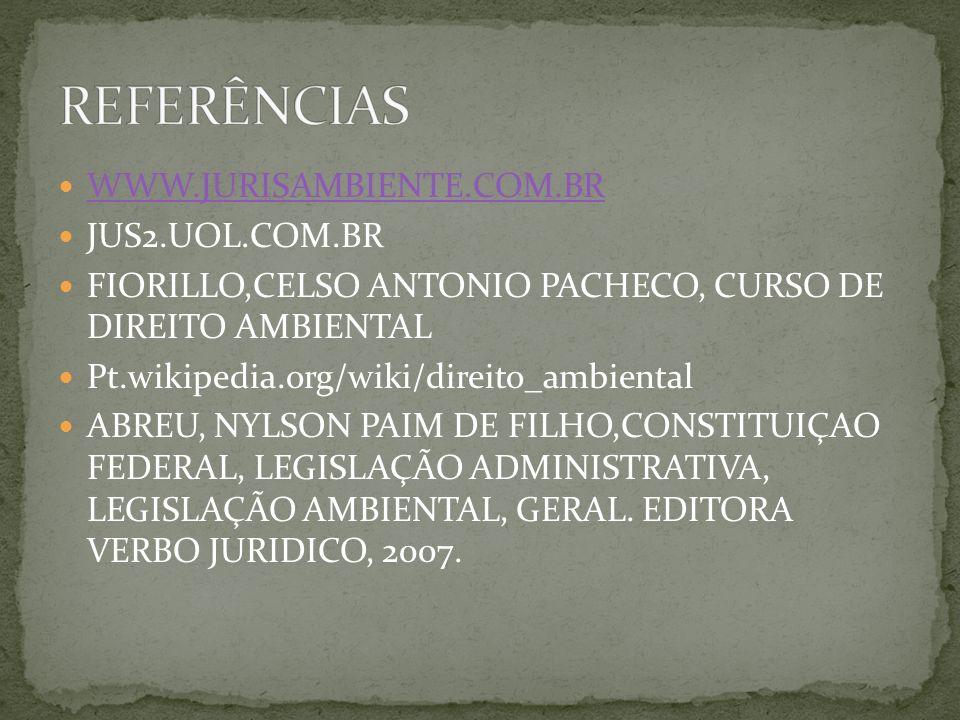 REFERÊNCIAS WWW.JURISAMBIENTE.COM.BR JUS2.UOL.COM.BR