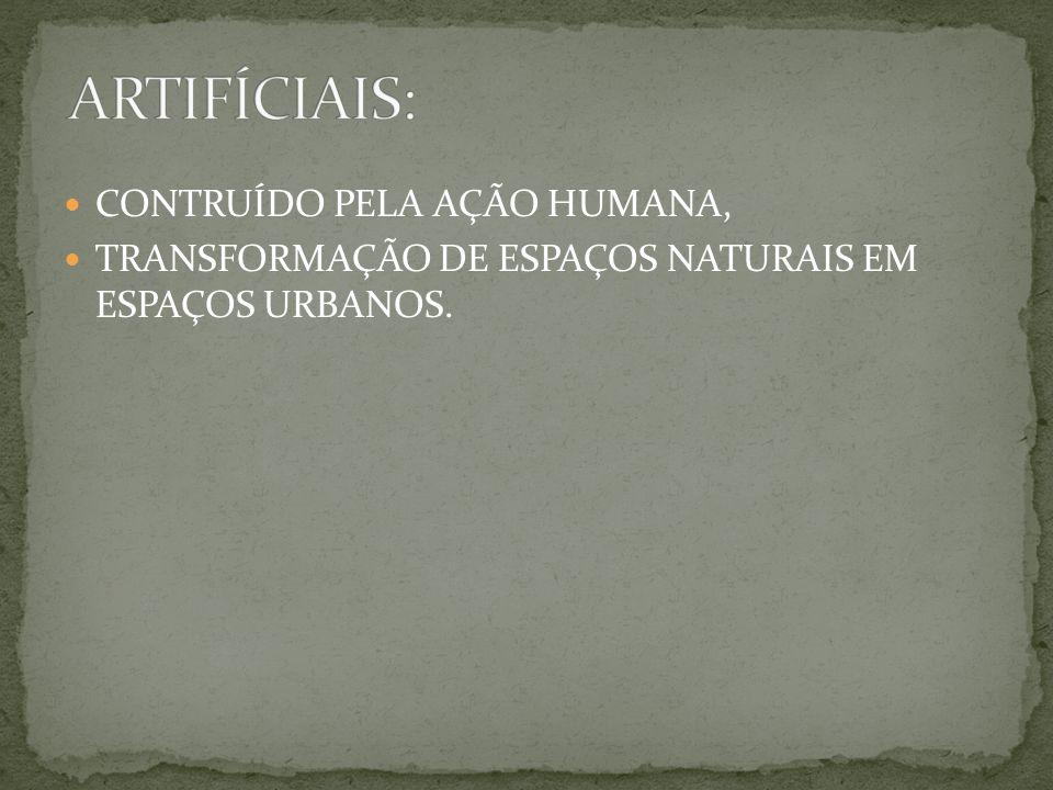 ARTIFÍCIAIS: CONTRUÍDO PELA AÇÃO HUMANA,