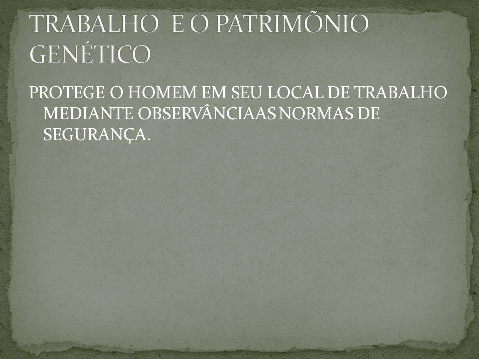 TRABALHO E O PATRIMÕNIO GENÉTICO