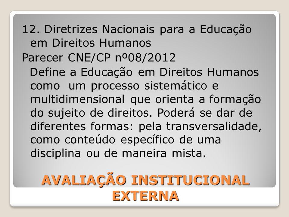 AVALIAÇÃO INSTITUCIONAL EXTERNA