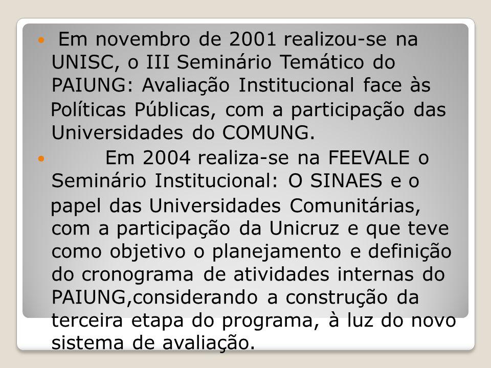 Em novembro de 2001 realizou-se na UNISC, o III Seminário Temático do PAIUNG: Avaliação Institucional face às