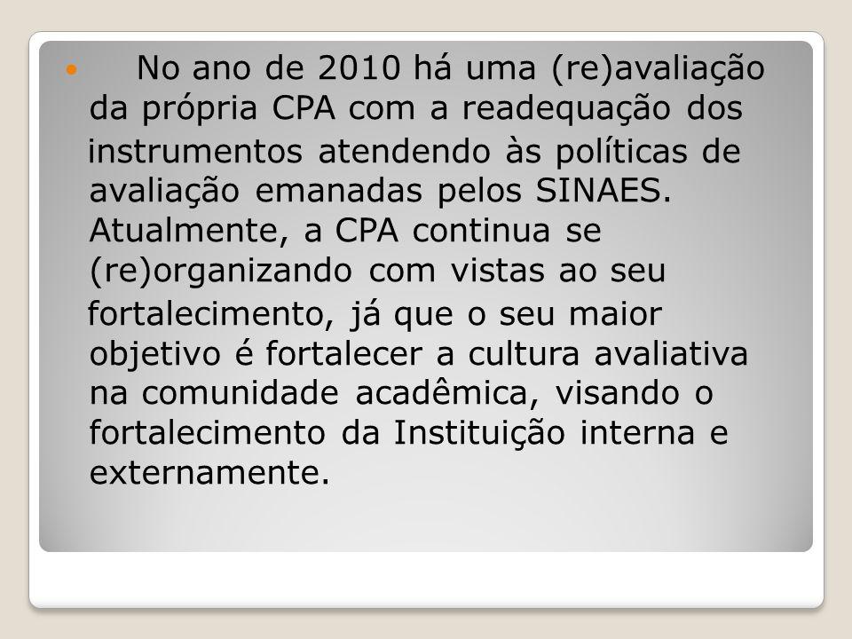 No ano de 2010 há uma (re)avaliação da própria CPA com a readequação dos