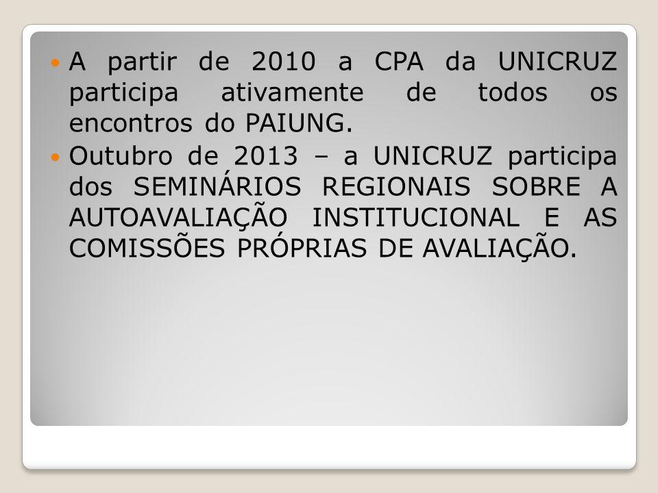 A partir de 2010 a CPA da UNICRUZ participa ativamente de todos os encontros do PAIUNG.