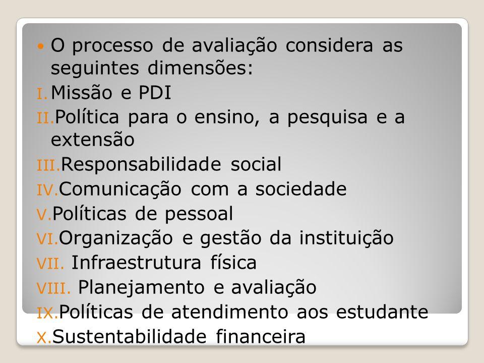 O processo de avaliação considera as seguintes dimensões: