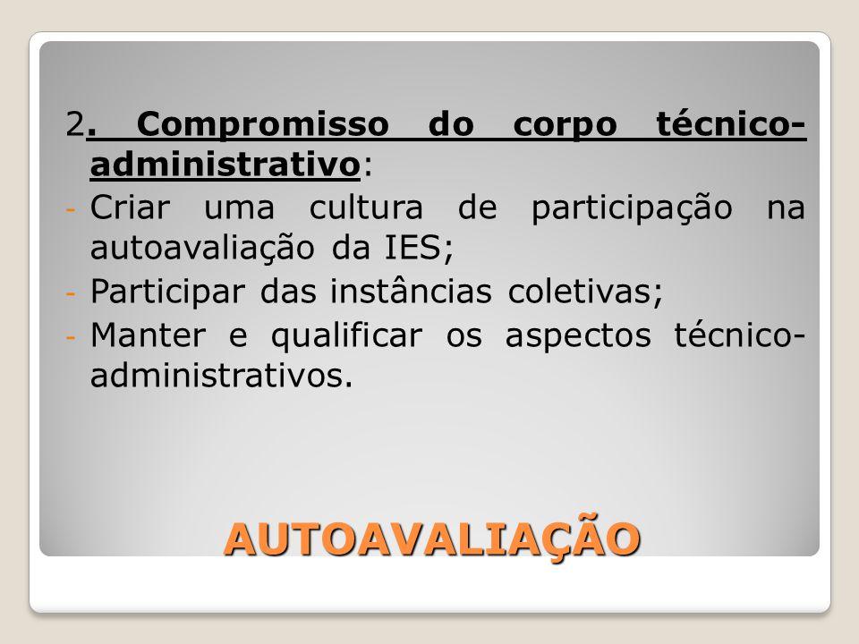 AUTOAVALIAÇÃO 2. Compromisso do corpo técnico- administrativo:
