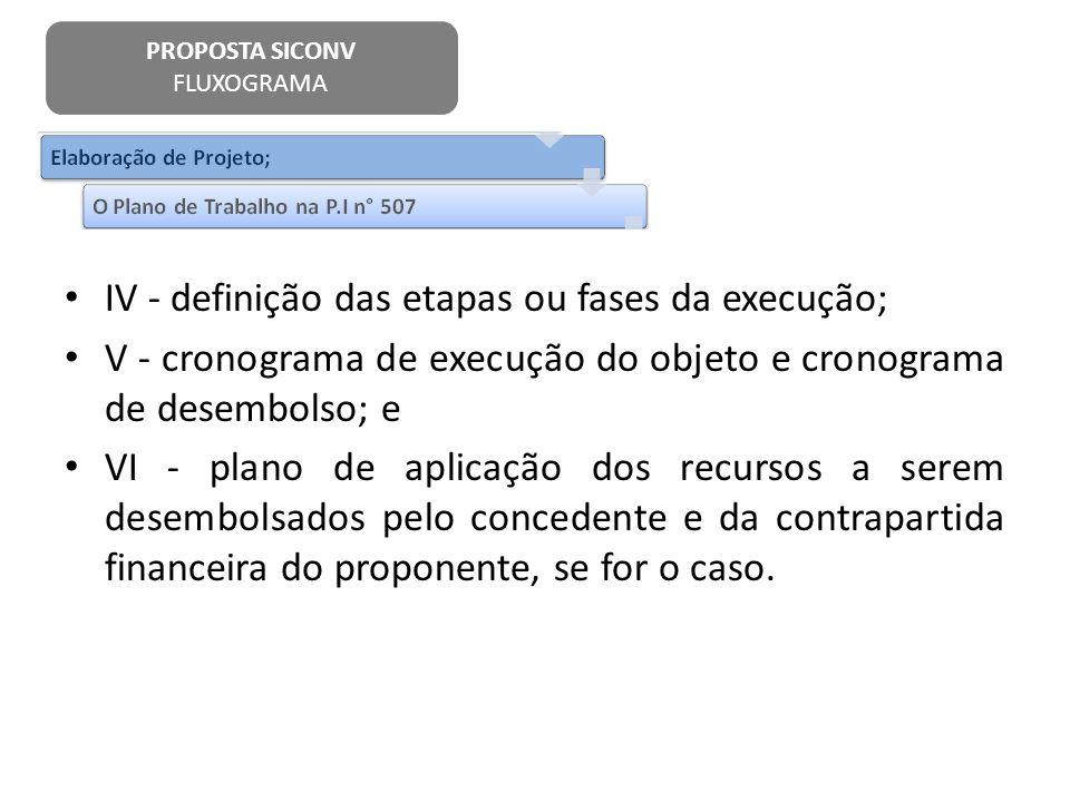 IV - definição das etapas ou fases da execução;