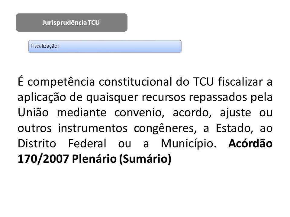 Jurisprudência TCU Fiscalização;
