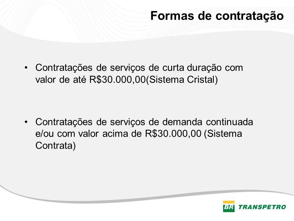 Formas de contrataçãoContratações de serviços de curta duração com valor de até R$30.000,00(Sistema Cristal)