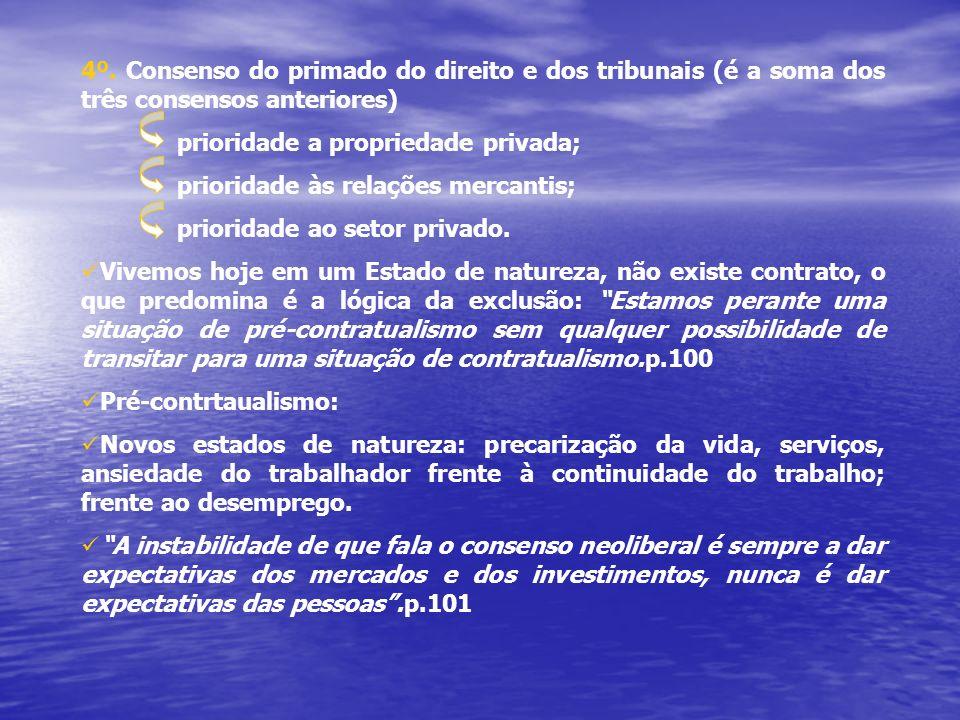 4º. Consenso do primado do direito e dos tribunais (é a soma dos três consensos anteriores)