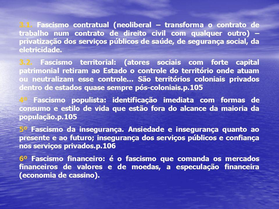 3.1. Fascismo contratual (neoliberal – transforma o contrato de trabalho num contrato de direito civil com qualquer outro) – privatização dos serviços públicos de saúde, de segurança social, da eletricidade.