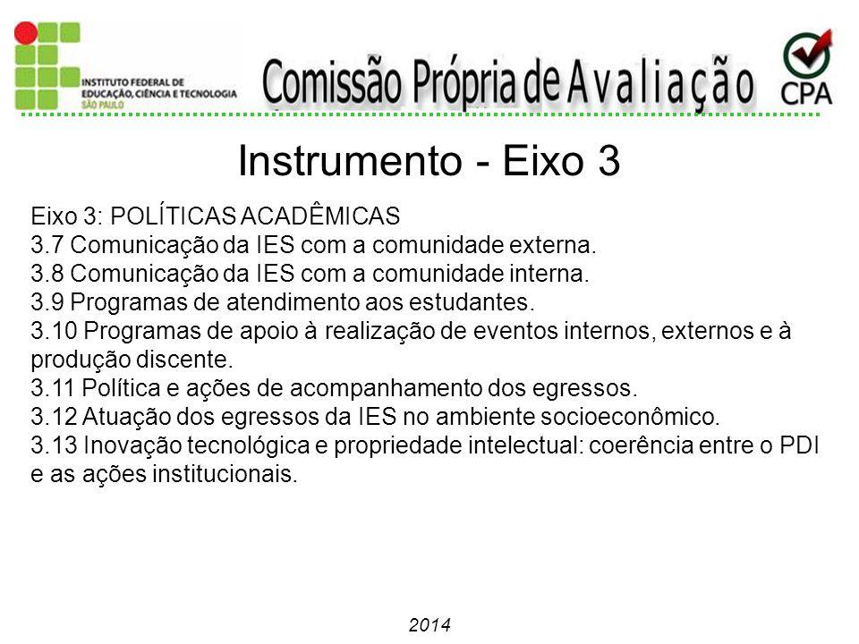 Instrumento - Eixo 3 Eixo 3: POLÍTICAS ACADÊMICAS