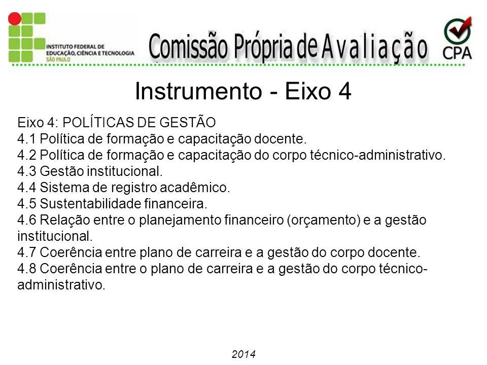 Instrumento - Eixo 4 Eixo 4: POLÍTICAS DE GESTÃO