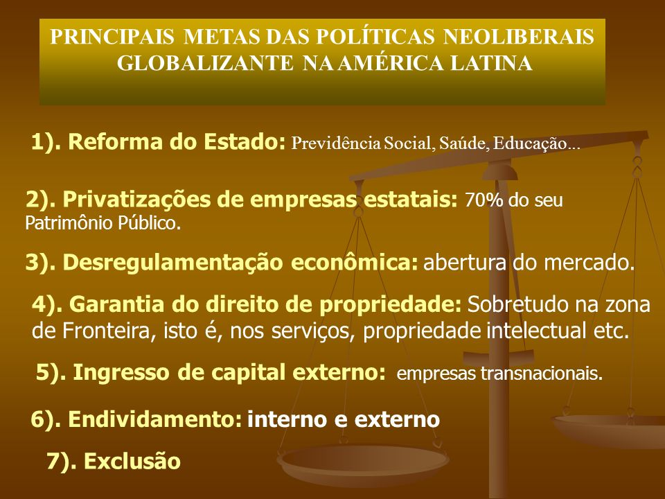 PRINCIPAIS METAS DAS POLÍTICAS NEOLIBERAIS