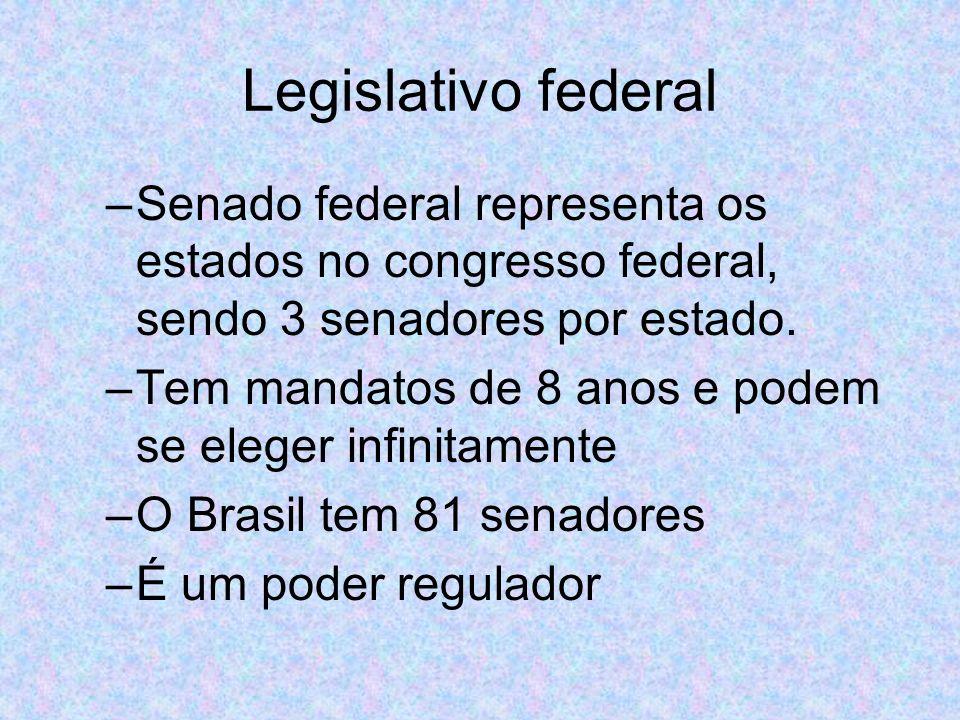 Legislativo federal Senado federal representa os estados no congresso federal, sendo 3 senadores por estado.