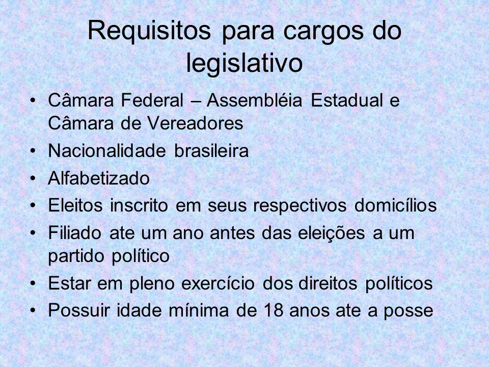 Requisitos para cargos do legislativo