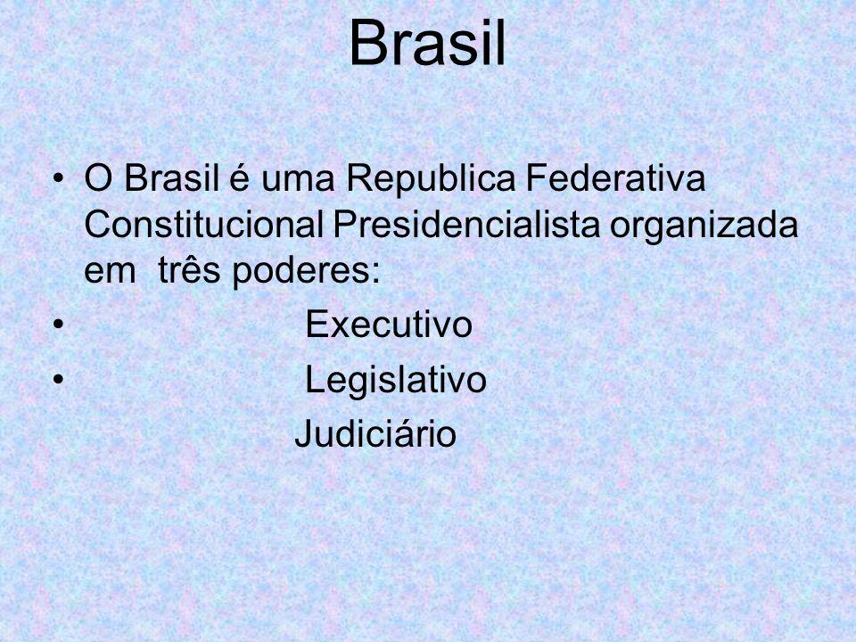 Brasil O Brasil é uma Republica Federativa Constitucional Presidencialista organizada em três poderes: