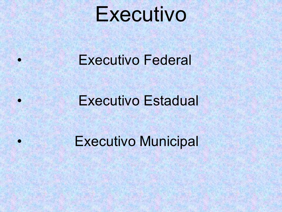Executivo Executivo Federal Executivo Estadual Executivo Municipal