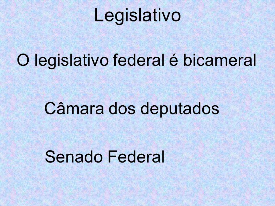 Legislativo O legislativo federal é bicameral Câmara dos deputados