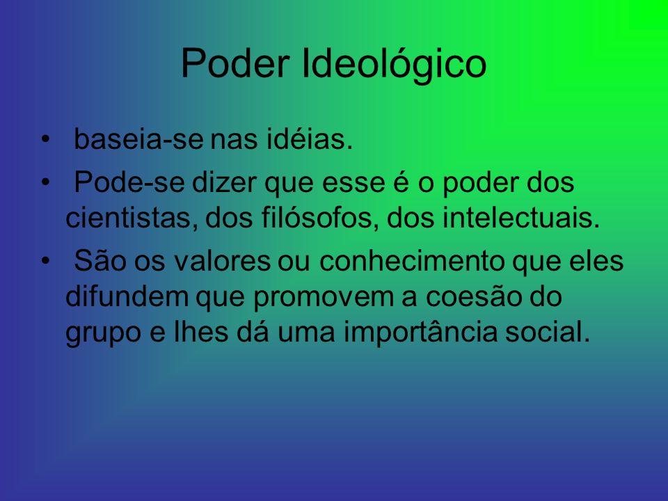 Poder Ideológico baseia-se nas idéias.