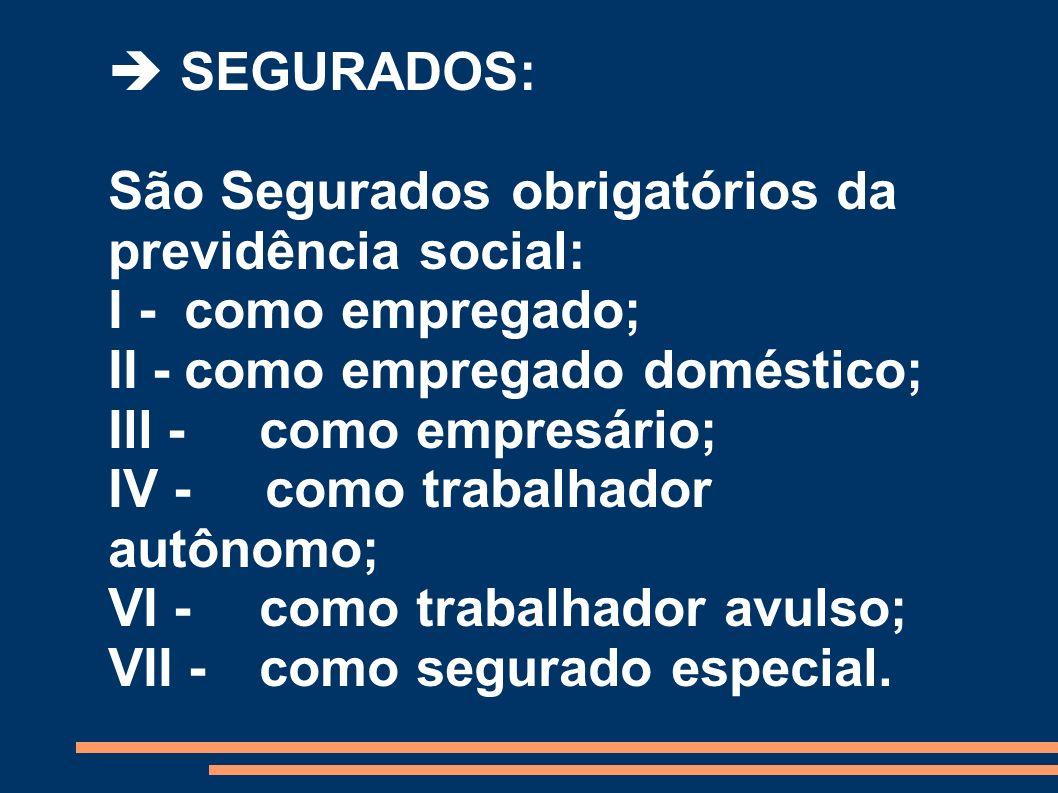  SEGURADOS: São Segurados obrigatórios da previdência social: I - como empregado; II - como empregado doméstico;
