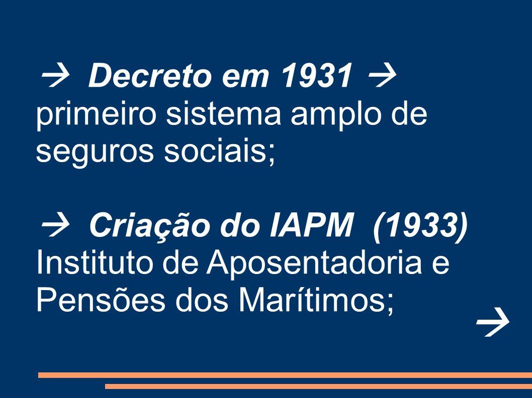   Decreto em 1931  primeiro sistema amplo de seguros sociais;