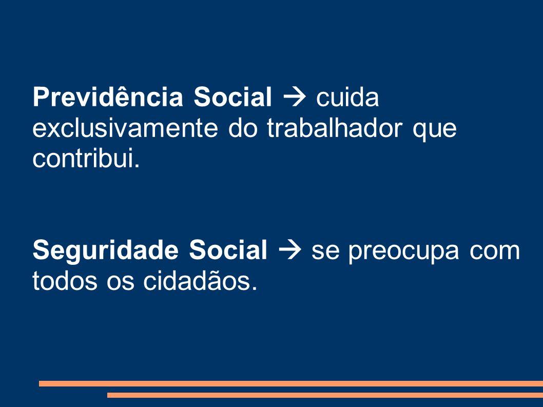 Previdência Social  cuida exclusivamente do trabalhador que contribui.