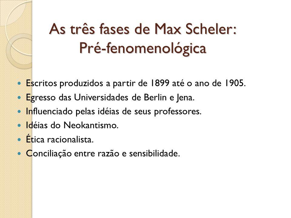 As três fases de Max Scheler: Pré-fenomenológica