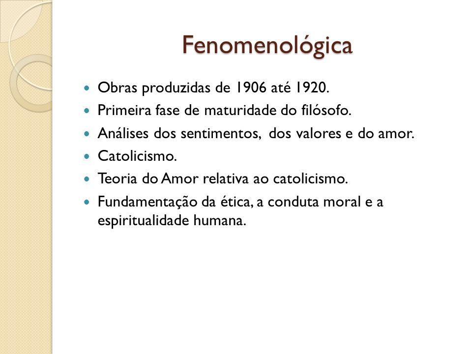 Fenomenológica Obras produzidas de 1906 até 1920.