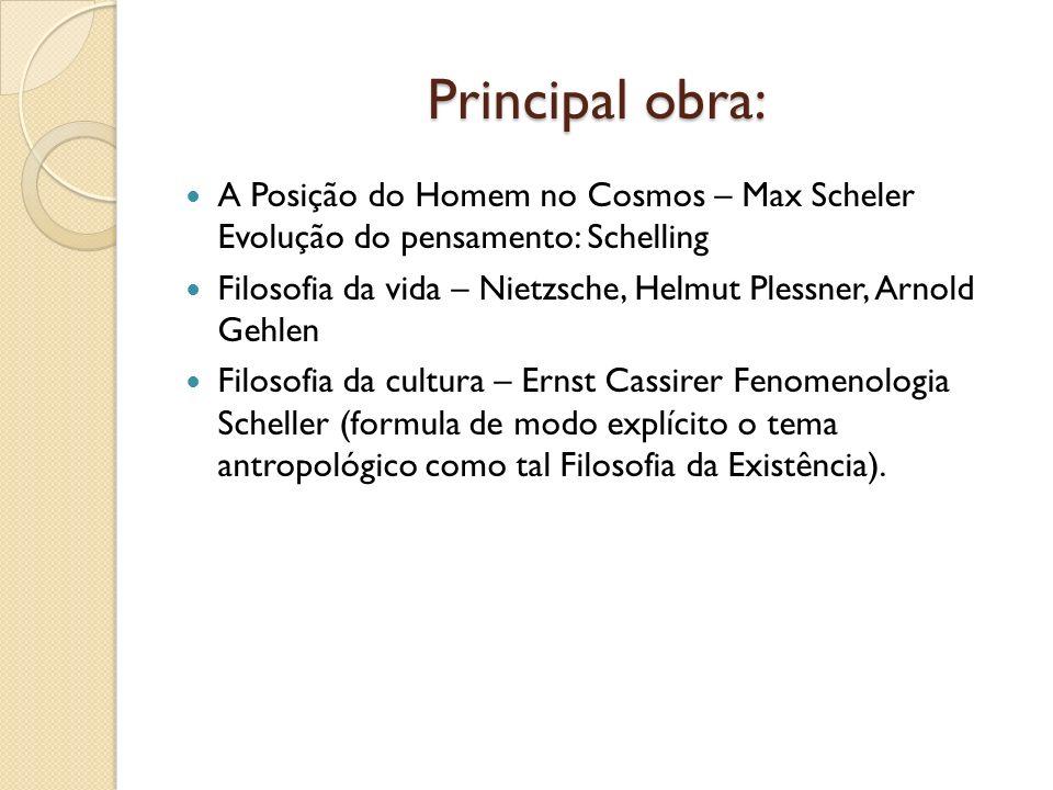 Principal obra: A Posição do Homem no Cosmos – Max Scheler Evolução do pensamento: Schelling.