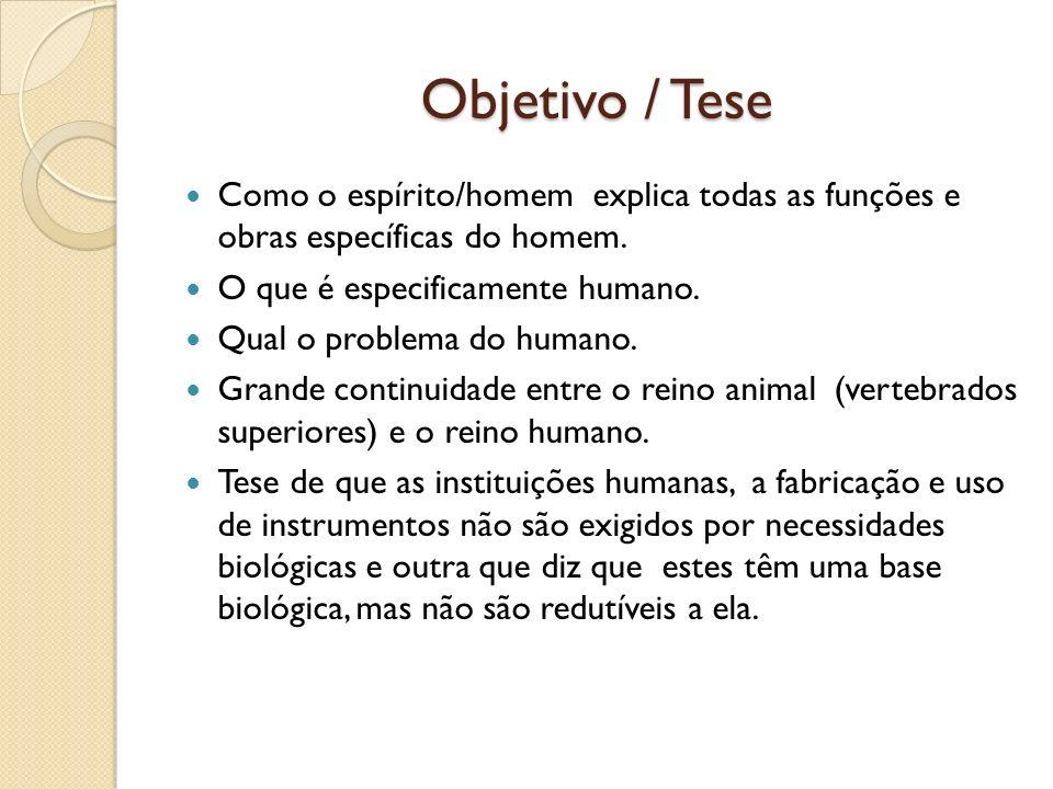 Objetivo / Tese Como o espírito/homem explica todas as funções e obras específicas do homem. O que é especificamente humano.