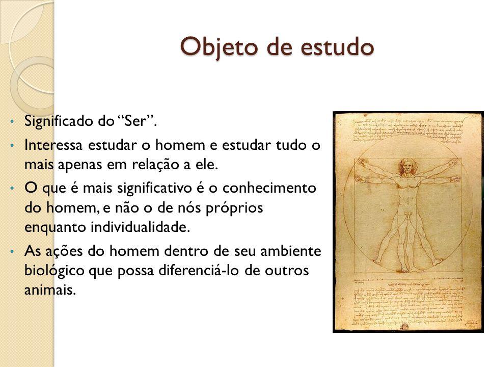 Objeto de estudo Significado do Ser .