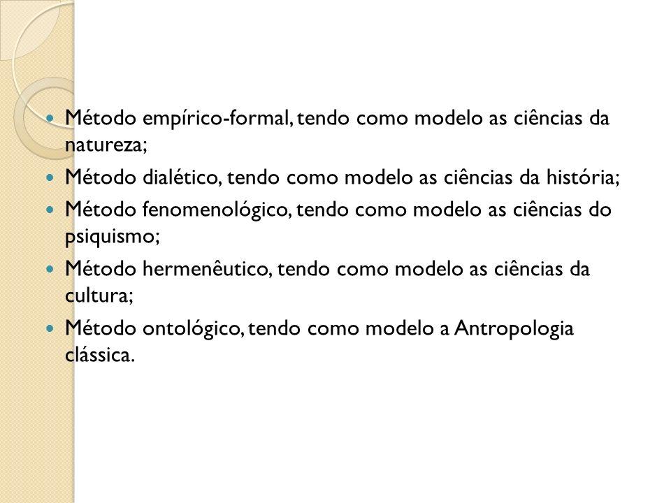 Método empírico-formal, tendo como modelo as ciências da natureza;