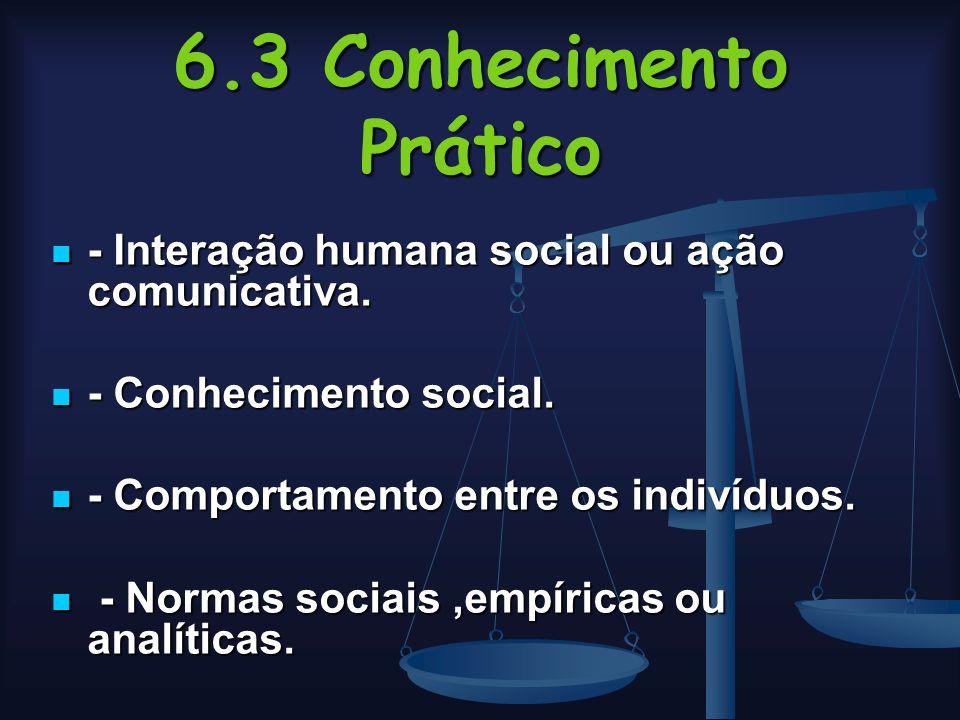 6.3 Conhecimento Prático - Interação humana social ou ação comunicativa. - Conhecimento social. - Comportamento entre os indivíduos.