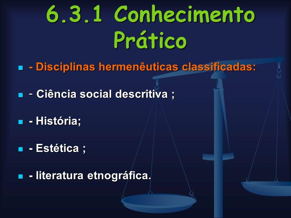 6.3.1 Conhecimento Prático - Disciplinas hermenêuticas classificadas: