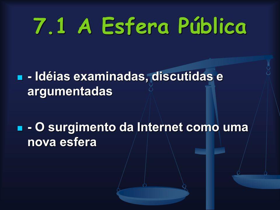 7.1 A Esfera Pública - Idéias examinadas, discutidas e argumentadas