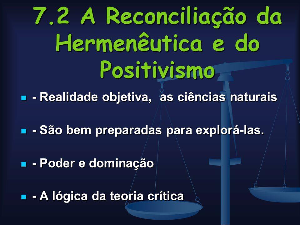 7.2 A Reconciliação da Hermenêutica e do Positivismo