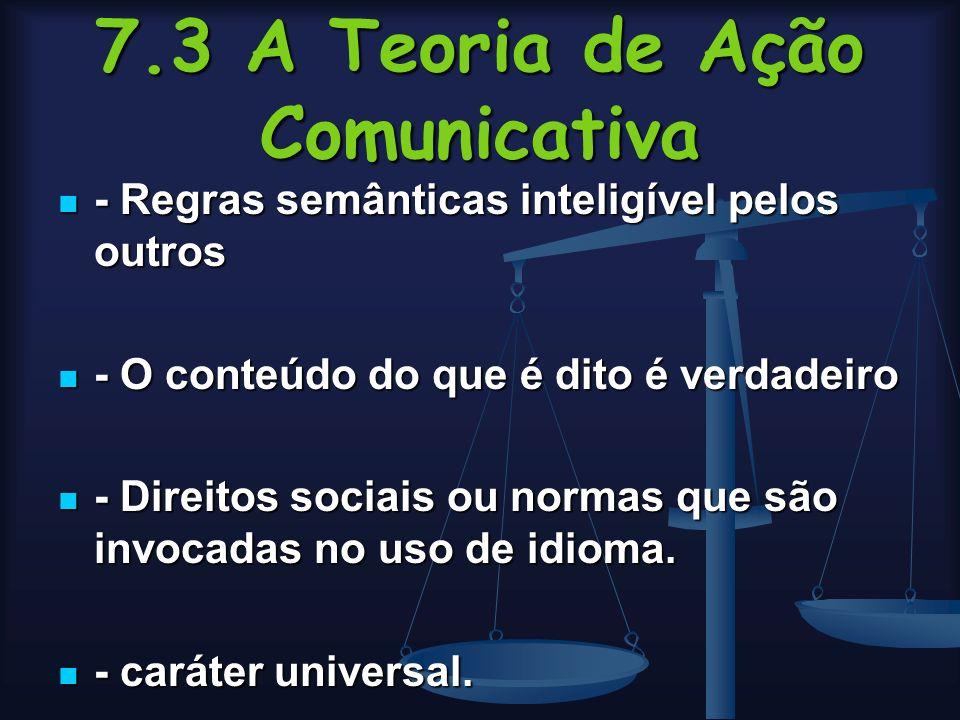 7.3 A Teoria de Ação Comunicativa