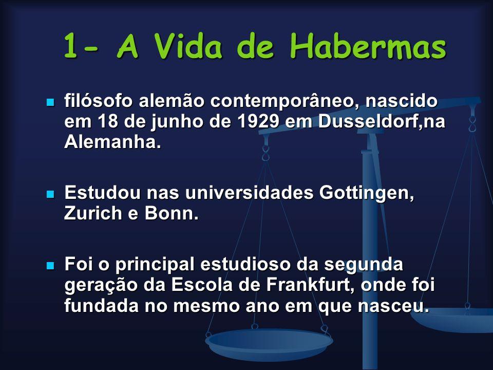 1- A Vida de Habermas filósofo alemão contemporâneo, nascido em 18 de junho de 1929 em Dusseldorf,na Alemanha.