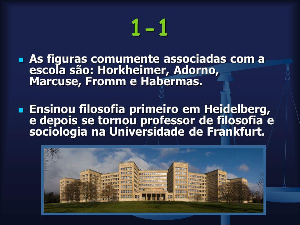 1-1 As figuras comumente associadas com a escola são: Horkheimer, Adorno, Marcuse, Fromm e Habermas.